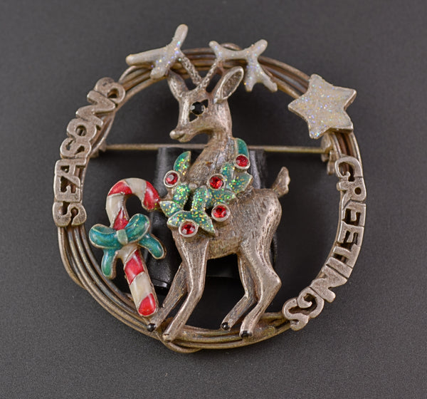 Christmas Reindeer  Candy Cane Wreath Pin - Mink Road Vintage Jewelry