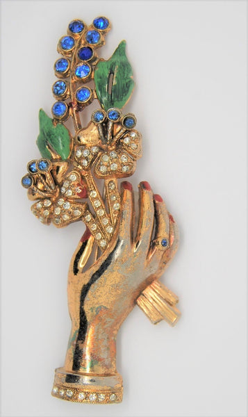 Art Deco Floral Bouquet Hand Figural Vintage Pin Brooch