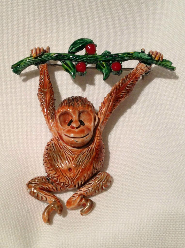 Hollycraft Hanging Monkey Figural Brooch Pin - Mink Road Vintage Jewelry