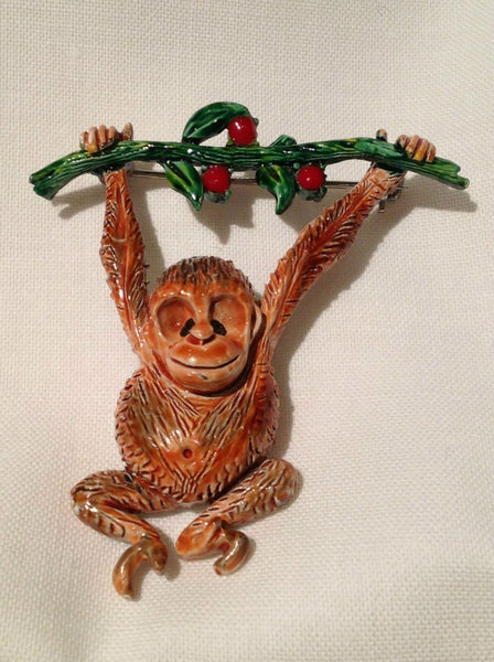 Hollycraft Hanging Monkey Pin - Mink Road Vintage Jewelry