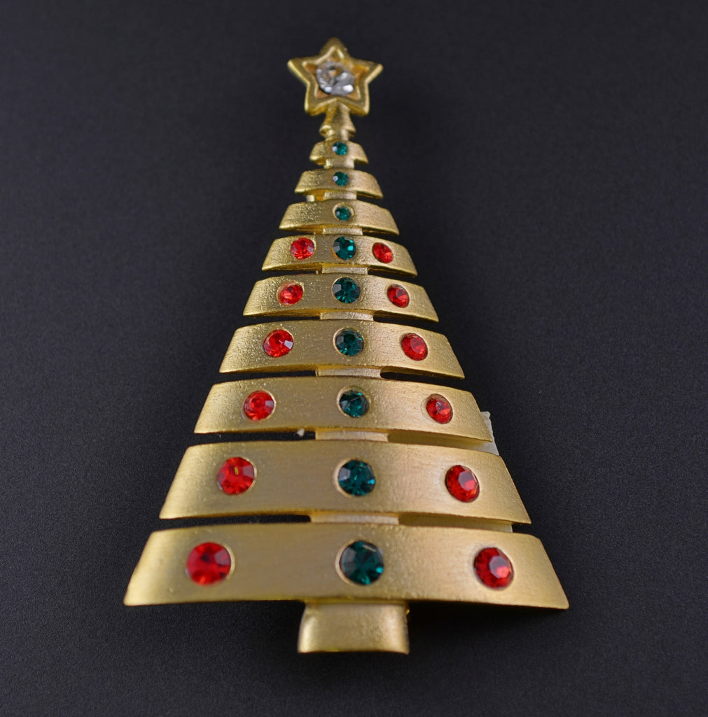 756aded73 JJ Triangle Contemporary Christmas Tree Pin - Mink Road Vintage Jewelry