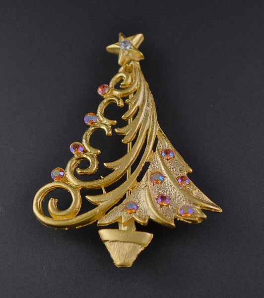 JJ Aurora Pink Asymetric Christmas Tree Pin - Mink Road Vintage Jewelry