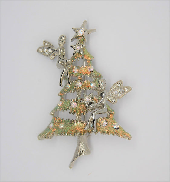 Kirks Folly Angel Fairy Figural Christmas Tree Brooch