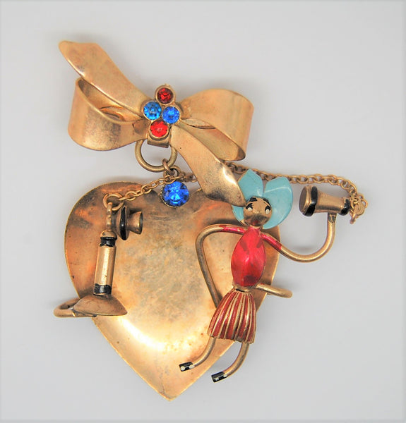 Art Deco Copper Dangling Bow Phone Girl Heart Valentine Figural Pin Brooch