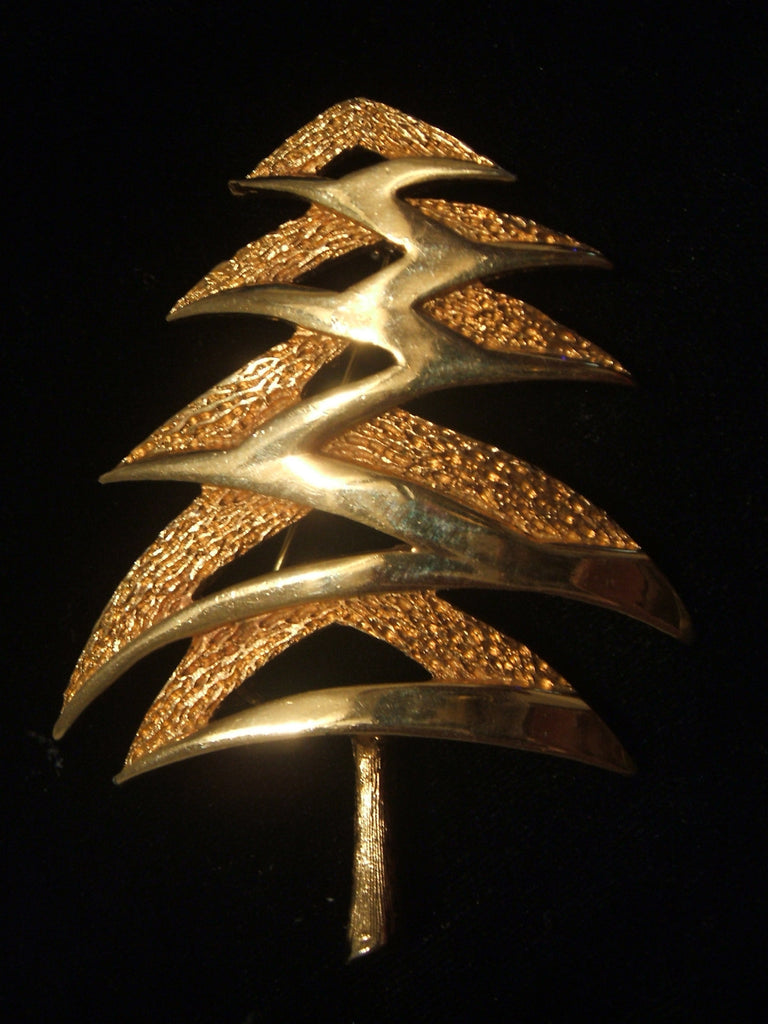 Mylu Gold Tone Abstract Christmas Tree - Mink Road Vintage Jewelry