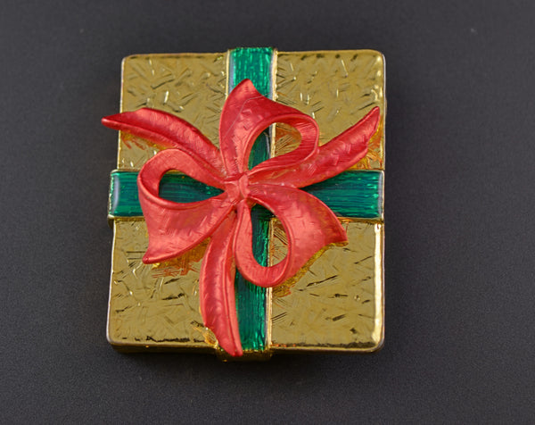 Gold Tone Christmas Package Ribbon Pin - Mink Road Vintage Jewelry