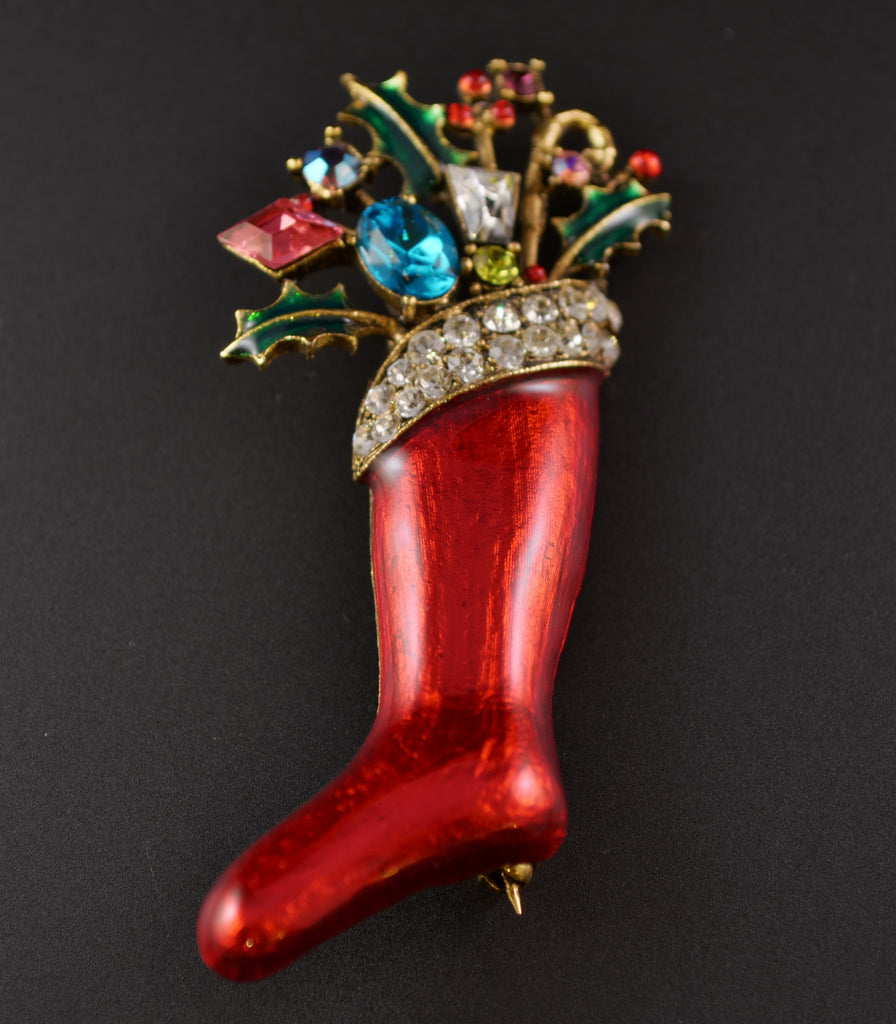 Weiss Red Christmas Stocking Brooch - Mink Road Vintage Jewelry