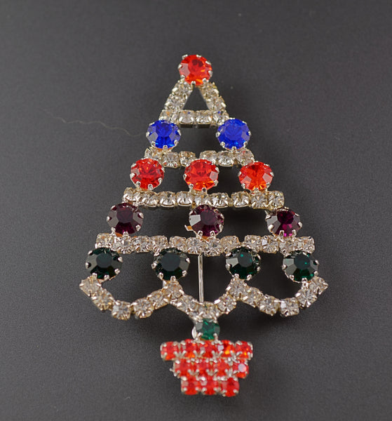 Rhinestone Triangle Christmas Tree - Mink Road Vintage Jewelry