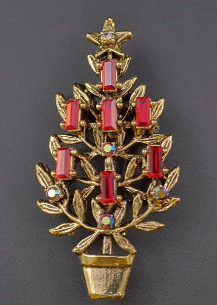 Ruby Candle Christmas Tree Pin - Mink Road Vintage Jewelry