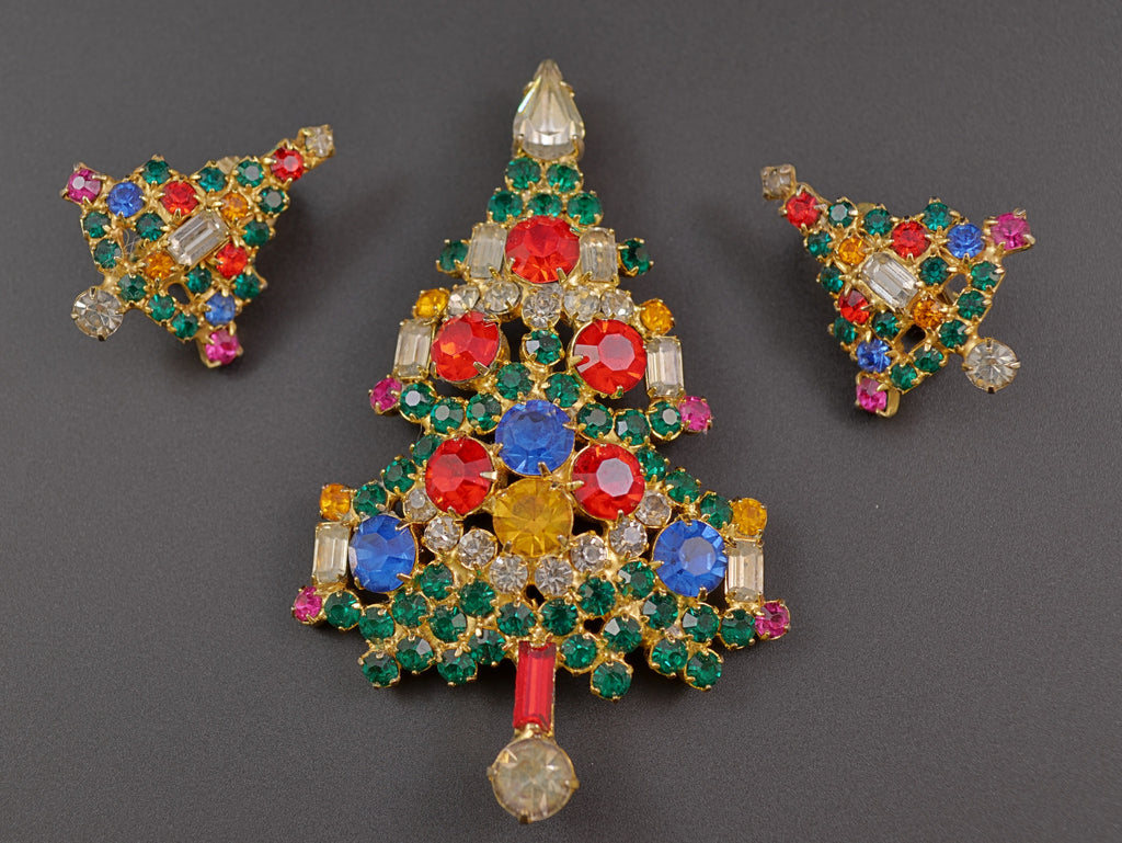 Warner Christmas Tree Pin | Earrings - Mink Road Vintage Jewelry