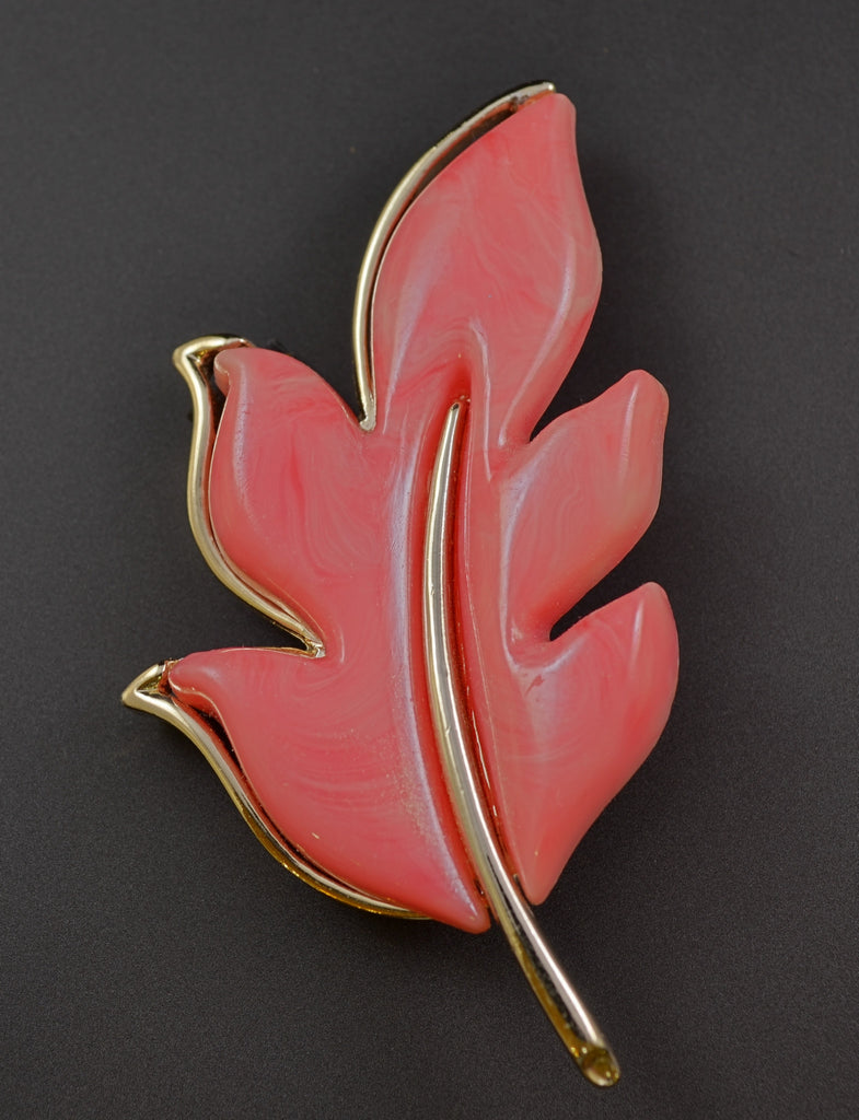 Sarah Coventry Pink Leaf Brooch - Mink Road Vintage Jewelry