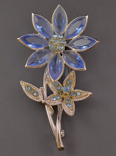Hollycraft Blue Floral Pin - Mink Road Vintage Jewelry