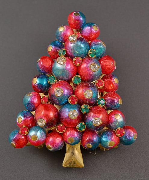 Pearl Christmas Tree Iodized Red Bead Pin Brooch - Mink Road Vintage Jewelry