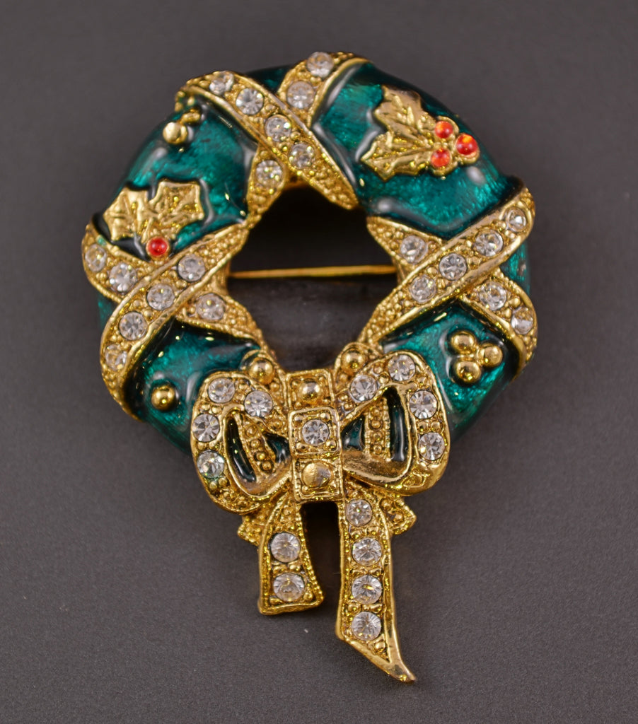 Wreath Green Enamel & Rhinestone Pin Brooch - Mink Road Vintage Jewelry