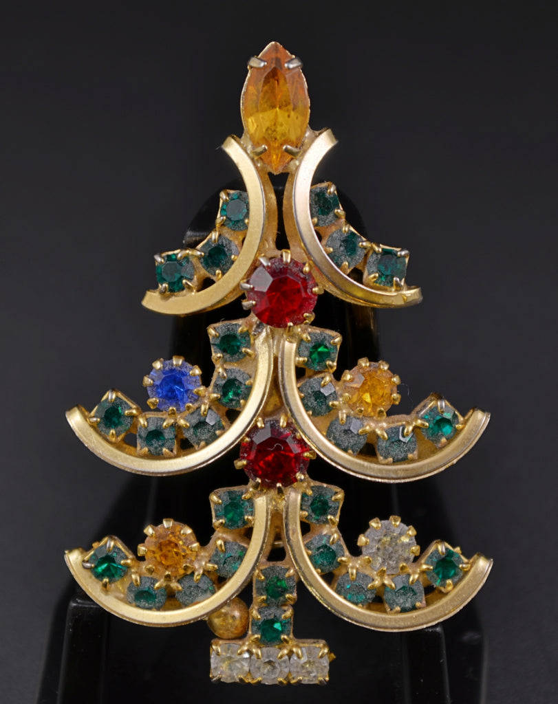 Rhinestone Prongset High End Christmas Tree Pin - Mink Road Vintage Jewelry