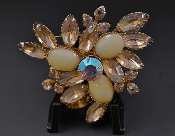 Juliana  D&E Topaz Aurora Center Rhinestone Pin - Mink Road Vintage Jewelry