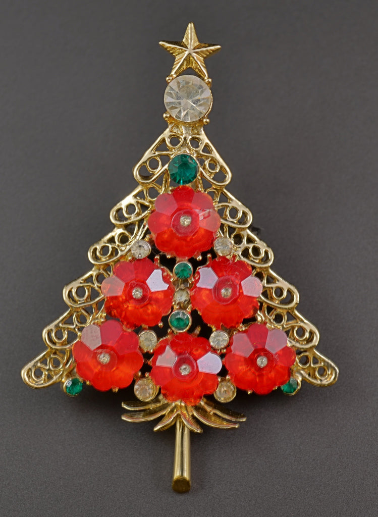 Ruby Red Rivoli Christmas Tree Pin - Mink Road Vintage Jewelry