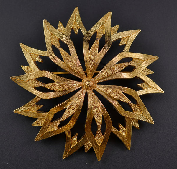 Monet Gold Tone Starburst Pin Brooch - Mink Road Vintage Jewelry