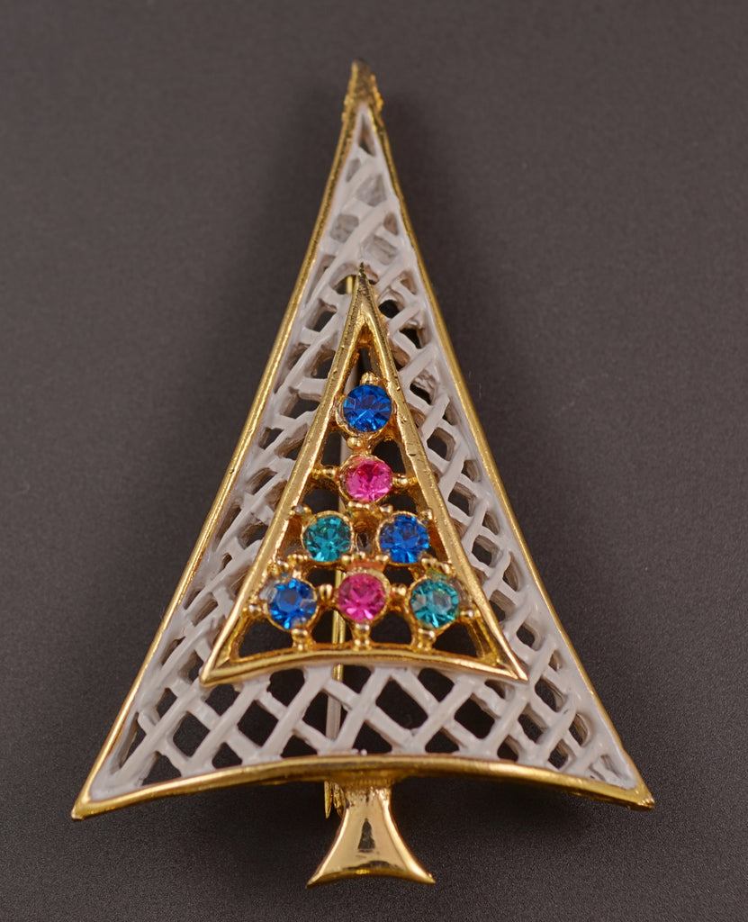 Christmas Tree White Lattice Rhinestone Pin Brooch - Mink Road Vintage Jewelry