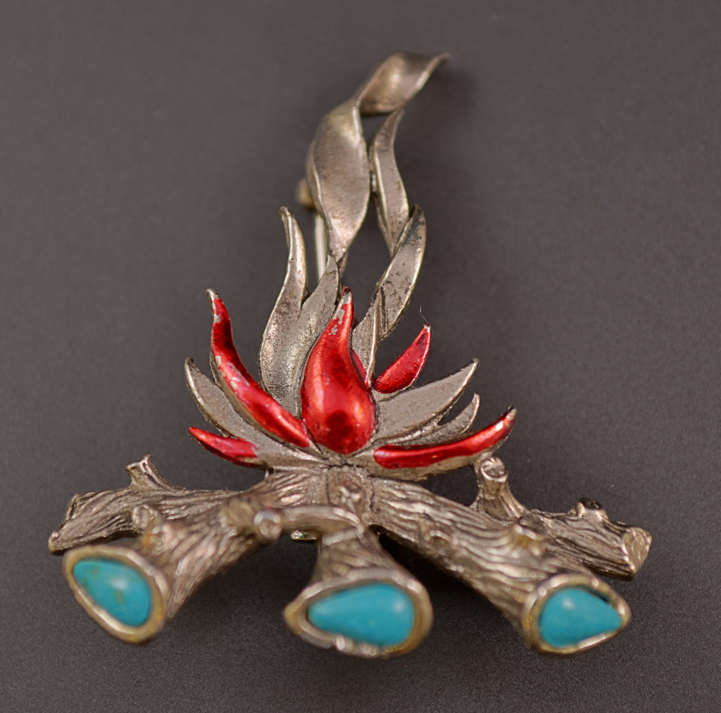 St Labre Campfire Turquoise Pin - Mink Road Vintage Jewelry