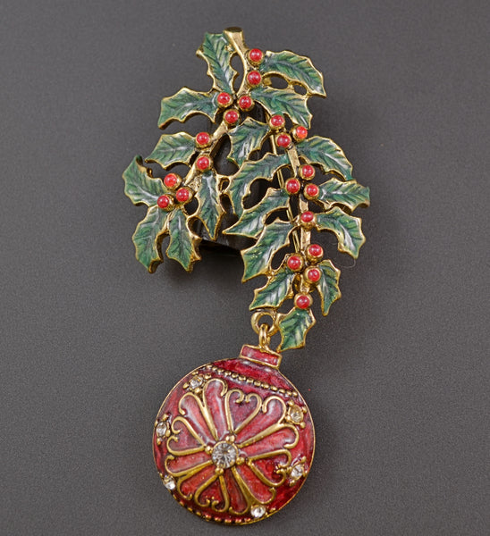 Monet Ornament and Holly Pin - Mink Road Vintage Jewelry
