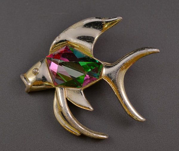 Sarah Coventry Watermelon Crystal Angel Fish - Mink Road Vintage Jewelry