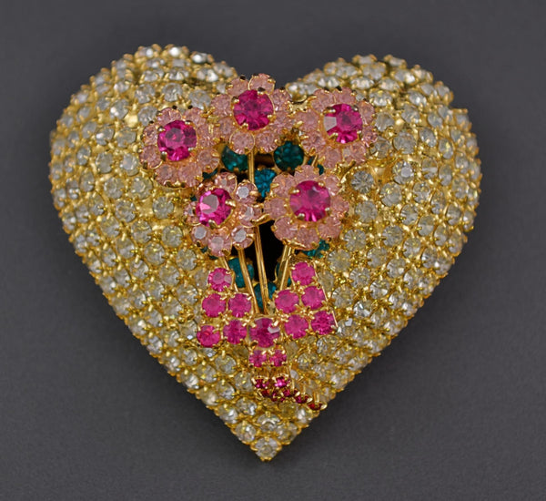 Bauer Valentine Rose Heart Figural Pin Brooch - Mink Road Vintage Jewelry
