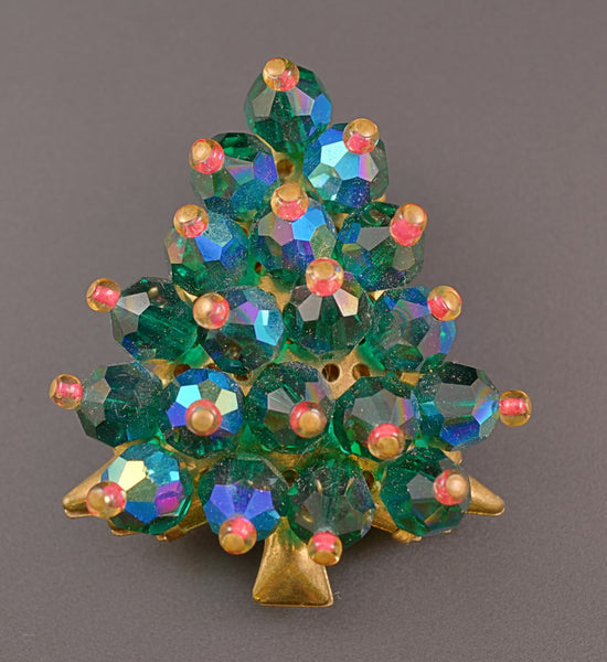 Christmas Tree Aurora Borealis Green Pearl Pin Brooch - Mink Road Vintage Jewelry
