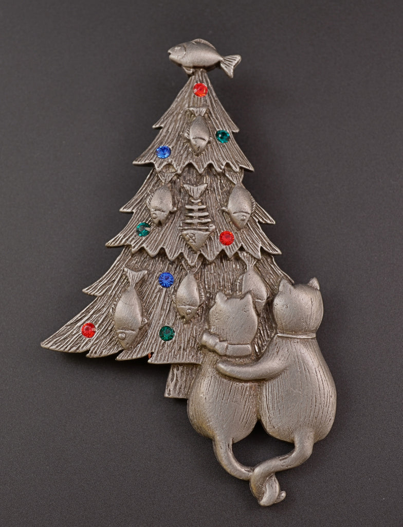 JJ Cats Dream Christmas Tree Pin Brooch - Mink Road Vintage Jewelry