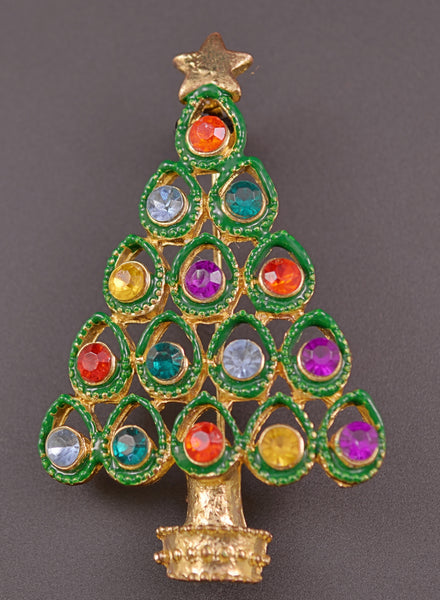 Rhinestone Christmas Tree Pin Brooch - Mink Road Vintage Jewelry