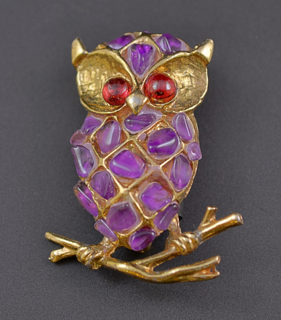 Swoboda Purple Amethyst Chip Owl Figural Brooch - Mink Road Vintage Jewelry