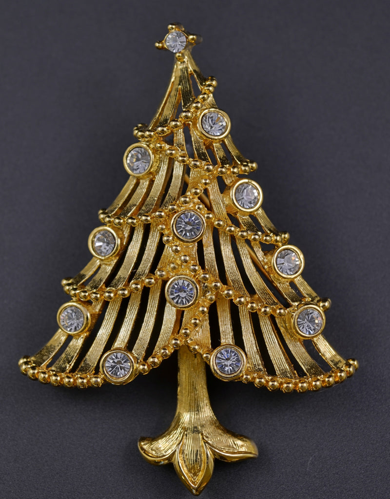 Trifari Rhinestone Tree Pin Brooch - Mink Road Vintage Jewelry