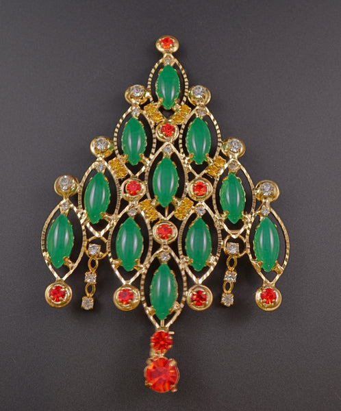 Christmas Tree Green Navette Pin Brooch - Mink Road Vintage Jewelry