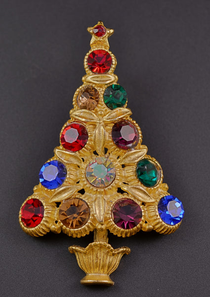 Silver Starr Christmas Tree Pin Brooch - Mink Road Vintage Jewelry