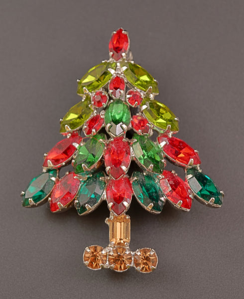 Napier Multi Rhinestone Christmas Tree Pin - Mink Road Vintage Jewelry