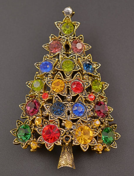 Hollycraft Star Rhinestone Christmas Tree Pin Brooch - Mink Road Vintage Jewelry