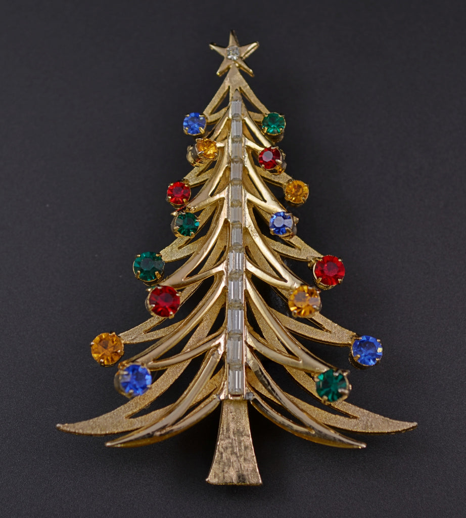 Brooks Candle Christmas Tree Pin - Mink Road Vintage Jewelry