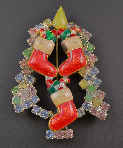 Ron Triple Santa Stocking Pin Brooch - Mink Road Vintage Jewelry