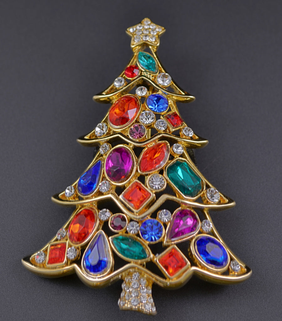 Christmas Tree Navette Rhinestone Pin Brooch - Mink Road Vintage Jewelry