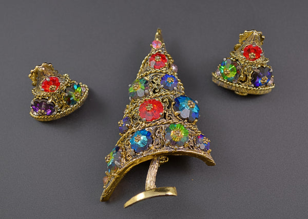 Weiss Rivoli Christmas Tree & Earrings - Mink Road Vintage Jewelry