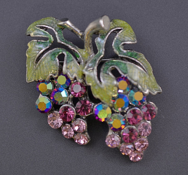 Contemporary Grape Rhinestone & Enamel Pin - Mink Road Vintage Jewelry