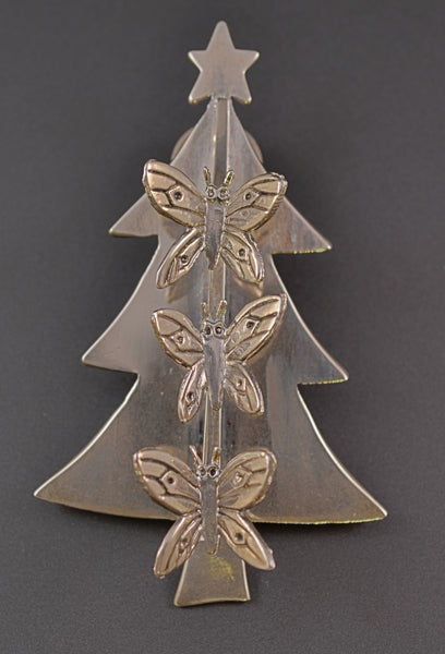 Castillo Butterfly Christmas Tree Pin | Neiman Marcus - Mink Road Vintage Jewelry