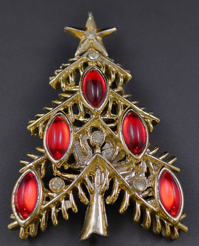 Tancer II Ruby Navette Christmas Tree Pin Brooch - Mink Road Vintage Jewelry