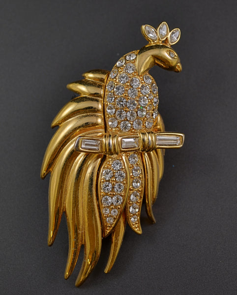 Monet Peacock Figural Dress Pin - Mink Road Vintage Jewelry
