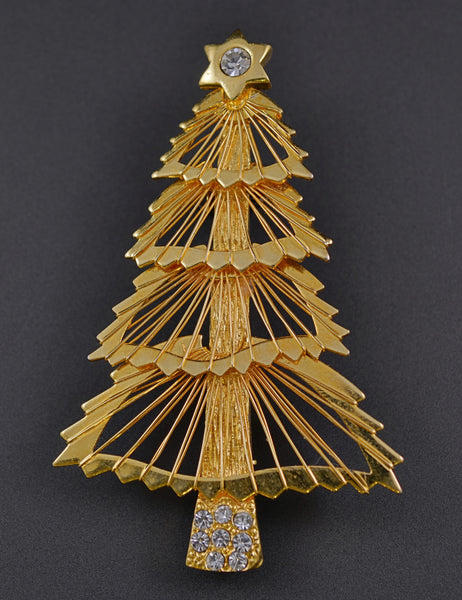 Monet Harp String Christmas Tree Pin Brooch - Mink Road Vintage Jewelry