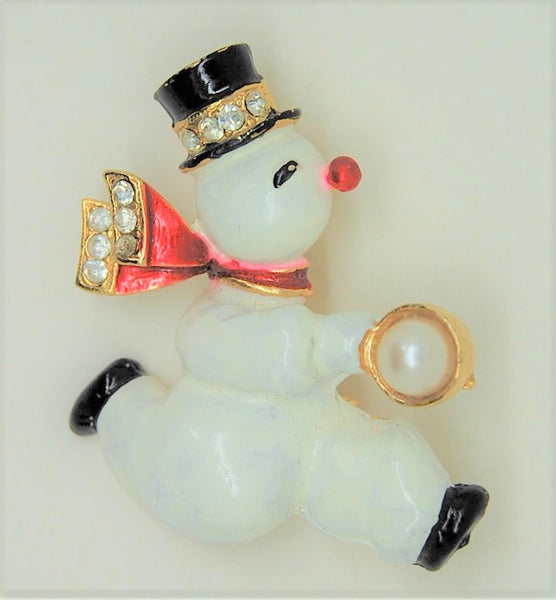 Rhinestone and Enamel Snowman Pin - Mink Road Vintage Jewelry