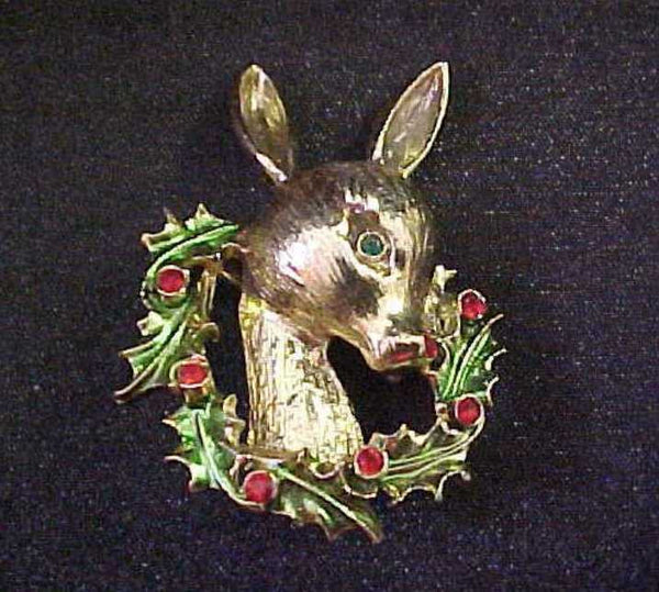 Tancer II Christmas Doe Reindeer with Wreath Brooch - Mink Road Vintage Jewelry