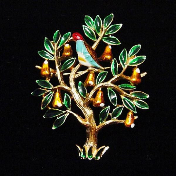 Trifari Partridge in a Pear Tree Brooch - Mink Road Vintage Jewelry