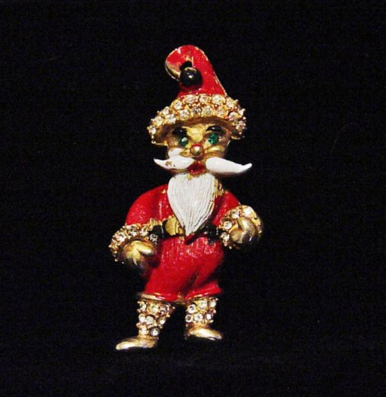 Weiss Santa Claus Figural Enamel Christmas Pin - Mink Road Vintage Jewelry