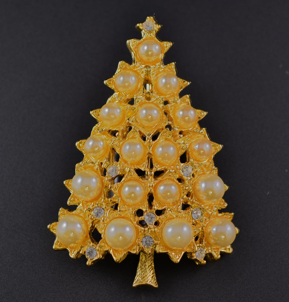 Graziano Pearl & Rhinestone Christmas Tree Pin Brooch - Mink Road Vintage Jewelry